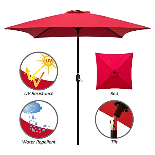 ABBLE Outdoor Patio Umbrella 6.5 Ft Square with Tilt and Crank, Weather Resistant, UV Protective Umbrella, Durable, 6 Sturdy Steel Ribs, Market Outdoor Table Umbrella, Red
