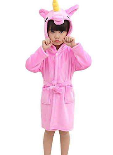 Mobarta Kids Unicorn Hooded Robe Coral Fleece Sleepwear Soft Pajamas Comfy Sleep Robe Bathrobe for Boys and ()
