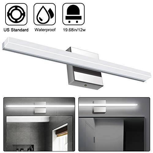 Elitlife Vanity Light 12W 19.68inches Bathroom Vanity Light Fixtures LED Acrylic Rectangle Tube Cool White 6000K for Bathroom