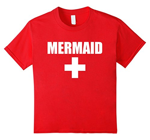 Kids Lifeguard Mermaid Funny Red White Official Swim Shirt 4 Red (Lifeguard Costume Funny)