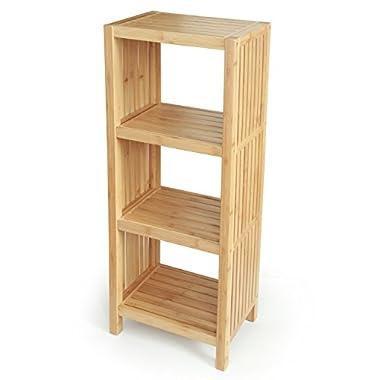 Deluxe Bathroom Bamboo Freestanding Organizing Shelf. (4-Tier Shelf)