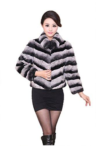 [MEEFUR Women's Fur Coat Chinchilla Stripes Rex Rabbit Fur Jacket with Collar Short Overcoat(Grey,US14)] (Chinchilla Fur Coat)