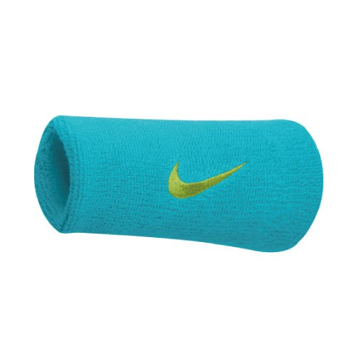 Nike Swoosh Doublewide muñequeras (1par) clearwater/flash lime