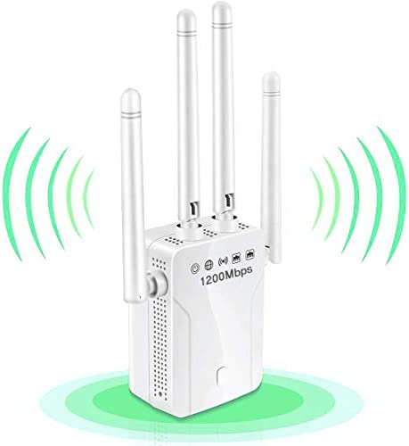 WiFi Extender, 1200Mbps WiFi Booster Dual Band 2.4G & 5G Signal Expander, Signal Booster Repeater Amplifier 360°Full Coverage, Extend WiFi Signal for Smart Home Alexa Devices (1200Mbps)