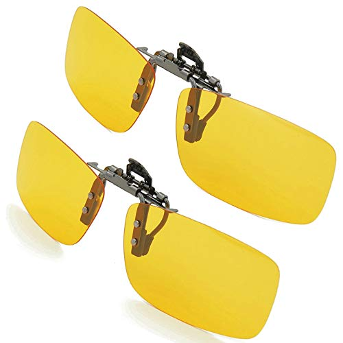 Splaks Clip-on Sunglasses, Unisex Polarized Frameless Rectangle Lens Flip Up Clip on Prescription Sunglasses Eyeglass, 2-Piece Clip on Glasses + Night Vision Glasses - Yellow