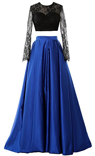 MACloth Women 2 Piece Long Sleeve Lace Prom Dress 2017 Formal Party Evening Gown Azul Real