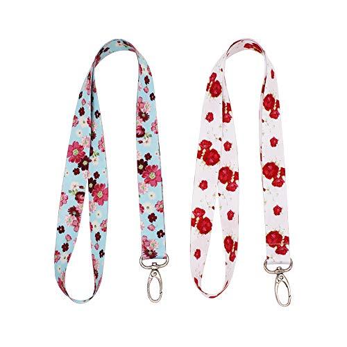 WOLUNWO Lanyard Key Chain ID Badge Holder with Swivel Hook 2 Pack (Colorful Flower)
