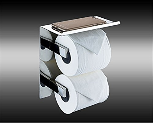 WINCASE Luxury SUS 304 Stainless Steel Toilet Paper Holder with Mobile Phone Storage Shelf Storage Rustproof Waterproof Bathroom Kitchen, Polished Chrome Finish Wall Mounted Tissue Roll Hanger by WINCASE (Image #2)