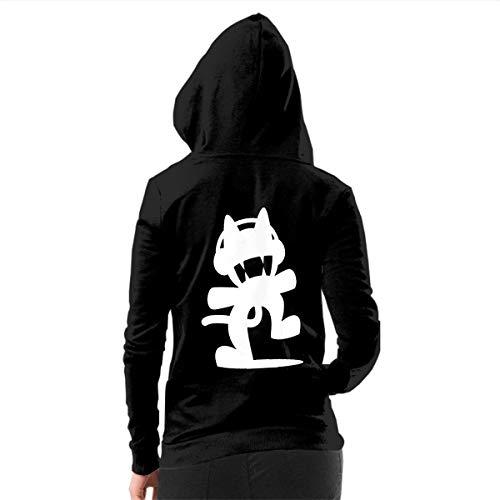 LLBUGS-hoodie Womens Monstercat Logo Zip-up Hoodie Vintage Hooded Sweatshirt Black M ()