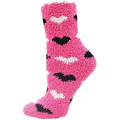 Fuzzy Socks Non Skid, 6 Pairs for Women, Warm, Soft Furry Microfiber, Comfortable, Cozy, Bulk Pack (Hearts) at Women's Clothing store