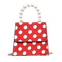 Skyseen Polka Dot Tote Bag Top Handle Handbag Shoulder Bag with Pearl Handle Red