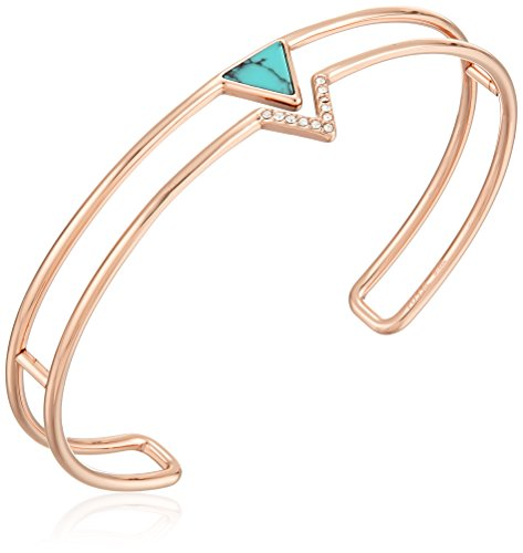 (Fossil Simulated Turquoise Triangle Open Cuff Bracelet)