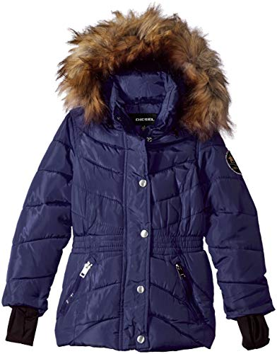 (Diesel Girls' Big' Down Down Jacket, Navy, 10/12)