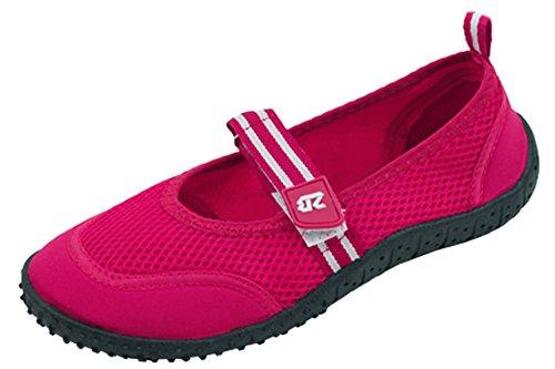 Cambridge Select Donna Chiusura Punta Rotonda Velcro Mary Jane Quick-dry Mesh Scarpa Acqua Antiscivolo Fucsia