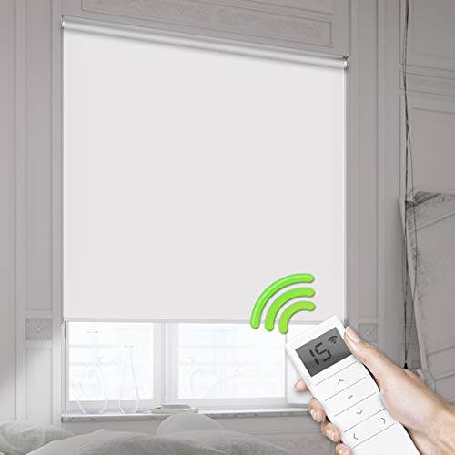 Motorized Smart Blinds Remote Control Window Roller Shade Wireless Rechargeable -100% Blackout Waterproof Fabric Window Shades for Office Restaurant & Smart Home Customized Size (White) -