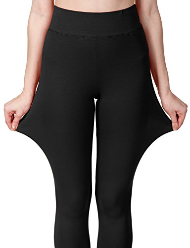 Regna X Love Coated Women Black Cotton Spandex Basic Knit Jersey Leggings-Pants -