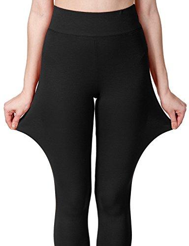 Regna X Love Coated Women Black Cotton Spandex Basic Knit Jersey Leggings-Pants