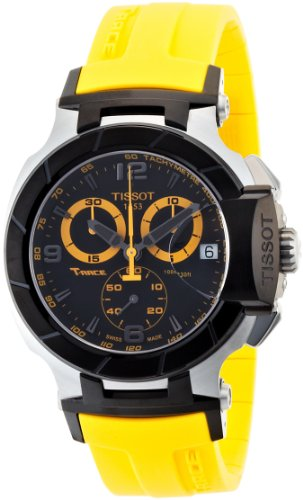 Yellow Mens Chronograph - Tissot Men's T0484172705703 T-Race Quartz Yellow Strap Chronograph Dial Watch