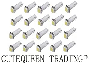 Cutequeen 20PCS White T5 5050 1-SMD 1smd LED Car Lights Bulb 17 18 27 37 58 70 73 74 79 85 86 2721 (pack of 20)