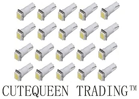 Cutequeen 20PCS White T5 5050 1 SMD 1smd LED Car Lights Bulb 17 18 27