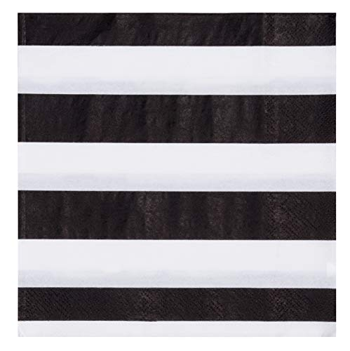 Cocktail Napkins - 150-Pack Luncheon Napkins, Disposable Paper Napkins Party Supplies for Kids Birthdays, 2-Ply, Black and White Striped Design, Unfolded 13 x 13 Inches, Folded 6.5 x 6.5 Inches