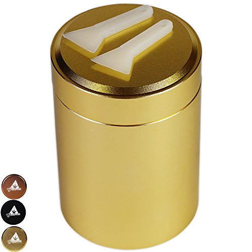 Smell-Proof Airtight Stash Container for Weed, Herb, and Tobacco, 2oz, with 2 Scraper Tool, Gold, by Green-Der