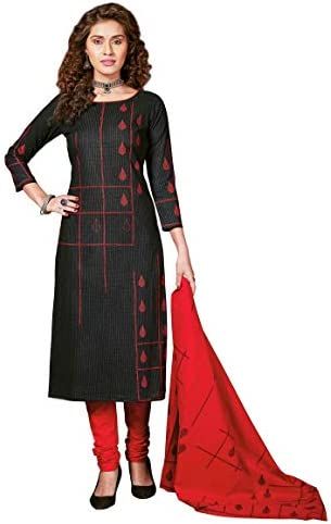 Miraan Women Cotton Unstitched Dress Material (BAND8001, Black, Free Size)