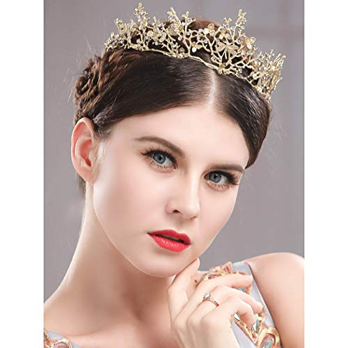 Catery Gold Butterfly Baroque Tiaras and Crowns Crystal