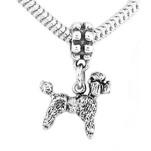 Sterling Silver Poodle Dog Dangle Bead Charm