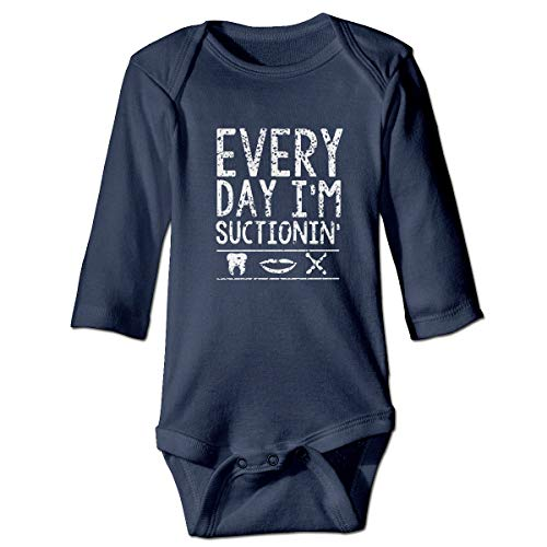 Moulton Mansfield Eveyday I Am Suctionin Dental Gift Unisex Baby Newborn Long Sleeve Onesies Bodysuits -