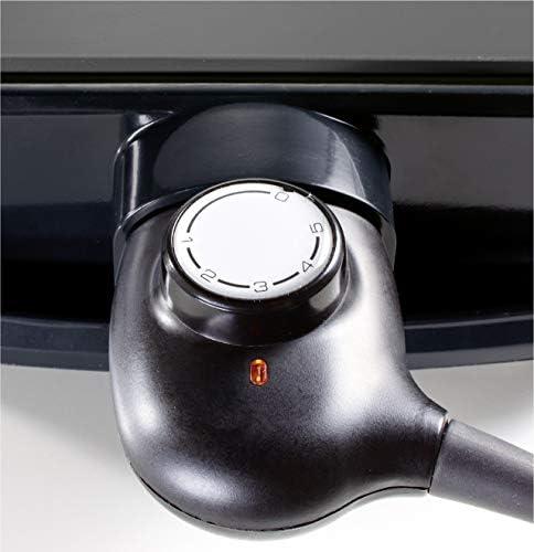 Brandt – Plancha Électrique PLA1322N – 2200 W - Thermostat 5 Niveaux – 80 °C à 200 °C – Fonte d'Aluminium Antiadhésive – Cuisson des Viandes, Poissons, Crustacés et légumes; Black/Green