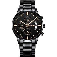 CUENA Reloj de cuarzo para hombre de negocios, resistente al agua, cronógrafo, calendario, reloj clásico para regalo