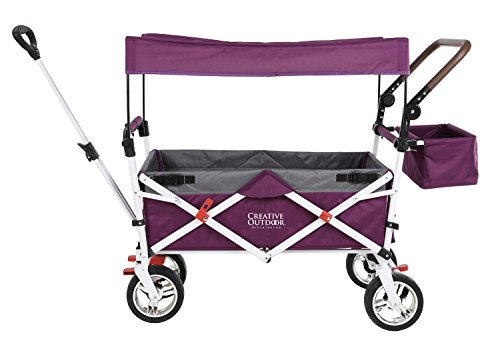 Push Pull Wagon for Kids, Foldable with Sun/Rain Shade (Purple Gray) 900569