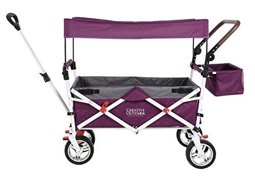 Push Pull Wagon for Kids, Foldable with Sun/Rain Shade (Purple Gray) 900569