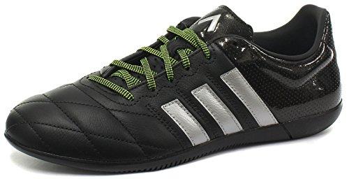 adidas Ace 15.3 In Leather - Botas para hombre, color negro / plata / amarillo