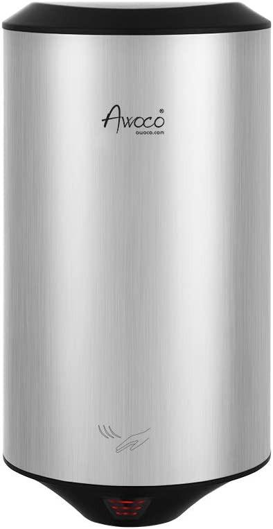 Awoco Round Stainless Steel 1350W 120V Automatic High Speed Commercial Hand Dryer, UL Listed, 1 Year Warranty (x 1)