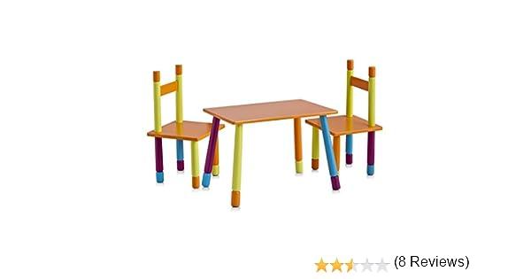 Zeller 13455 Color - Juego de mesa y sillas infantiles (tablero DM, 3 piezas, mesa: 40 x 60 x 42 cm, sillas: 28 x 28 x 53 cm): Amazon.es: Hogar