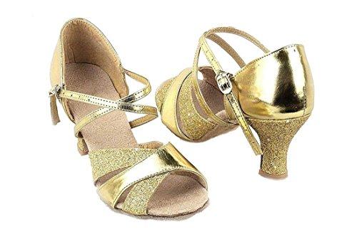 Tanzschuhe - SODIAL(R) Damen Sexy Tanzchuhe fuer Latin Ballroom Salsa Tango Glitter 34 golden m24lhcc