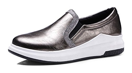 Aisun Womens Casual Comfort Round Toe Thick Sole Platform Wedge Low Heels Loafers Shoes Gold 1jBFIZ8y