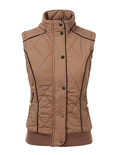doublju lightweight paddeed quilted zip up jacket plus size available tobacco small buy. Black Bedroom Furniture Sets. Home Design Ideas