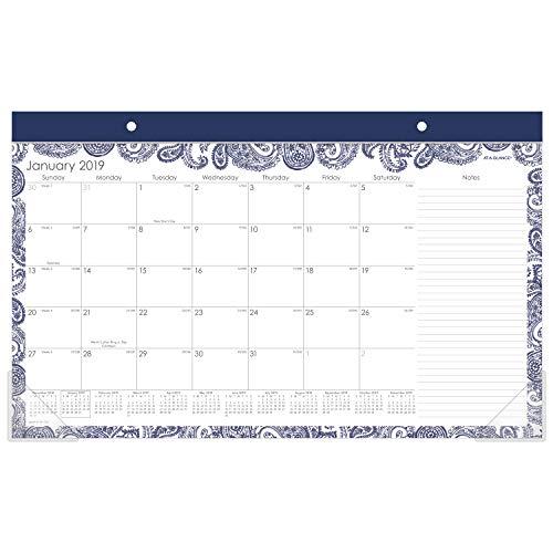 """AT-A-GLANCE 2019 Desk Calendar, Desk Pad, 17-3/4"""" x 11"""", Compact, Paige (D1141-705)"""