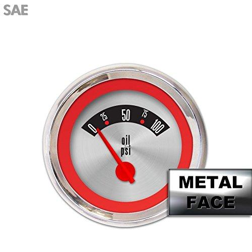 Red Ring Face, Red Modern Needles, Chrome Bezels Aurora Instruments 2370 American Retro Rodder Assembled Oil Pressure Gauge