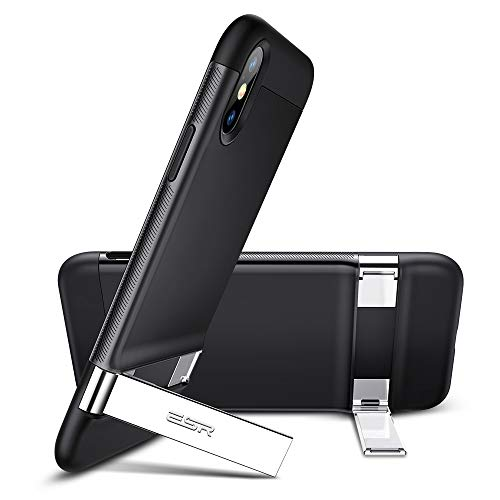 ESR Metal Kickstand Case for iPhone Xs Max, [Vertical and Horizontal Stand] [Reinforced Drop Protection] Hard PC Back with Flexible TPU Bumper for iPhone 6.5 inch(2018)(Black)