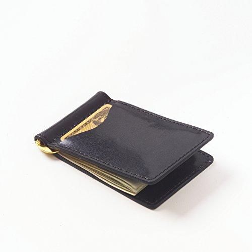 Clava Mens Wallet - Glazed Leather Money Clip Color: Glazed Black
