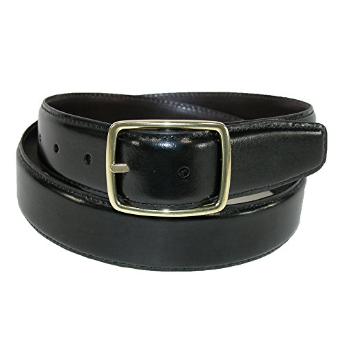 Aquarius Men's Leather Gold Buckle Center Bar Reversible Belt, 42, Black to (Aquarius Leather Belt)