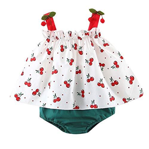 MOGOV Newborn Kids Baby Girl Cherry Print Strap Tops Short PP Pants 5PC Summer Outfits Sets ()
