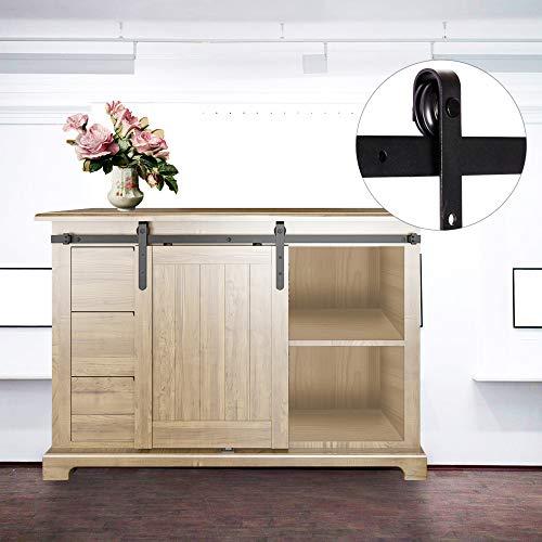 - Bonnlo 5ft Antique Style Sliding Barn Wood Door Hardware Track Kit Sliding Wheel for Cabinet TV Stand Set (Black)(J Shape Hangers)(Single Door)(Not Include Cabinet)