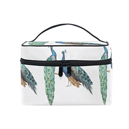 Makeup Bag Grace Peacock Painting Travel Cosmetic Bags Organizer Train Case Toiletry Make Up Pouch - Inner Grace Skin Care At