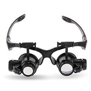 Magnifying Glasses Jewelry Loupe Watch Repair Magnifier Eyewear Miniature Magnifying Glass Loop 10x 15x 20x 25x Magnifier Headset Hands Free with LED Lights BIMANGO