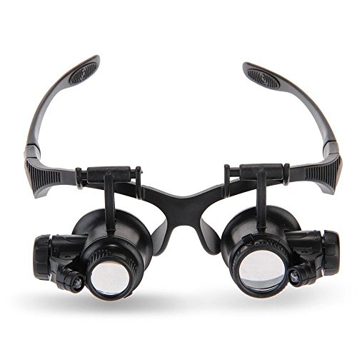 TMANGO Magnifying Glasses, Jewelry Loupe, Watch Repair Magnifier, Eyewear Miniature Magnifying Glass Loop, 10x 15x 20x 25x Magnifier Headset Hands Free with LED Lights